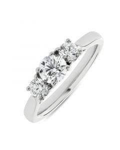 Platinum brilliant round cut diamond three stone engagement ring. 0.60cts