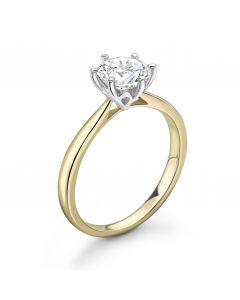 18ct yellow gold brilliant round cut single stone diamond engagement ring. 0.56cts