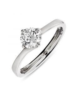 Platinum brilliant round cut single stone diamond engagement ring. 0.71cts