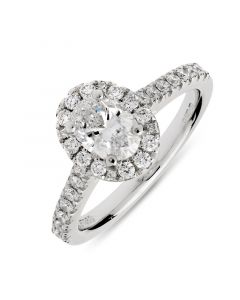 Platinum oval cut diamond halo engagement ring. 0.65cts