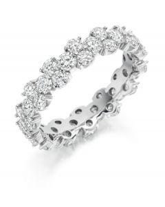 Platinum 4.7mm brilliant round cut full hoop contemporary diamond eternity ring. 2.50cts