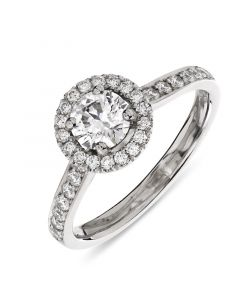 Platinum brilliant round cut diamond halo engagement ring. 0.50cts