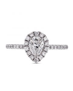 Platinum pear cut diamond halo engagement ring. 0.51cts