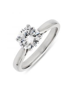 Platinum brilliant round cut single stone diamond engagement ring. 1.19cts