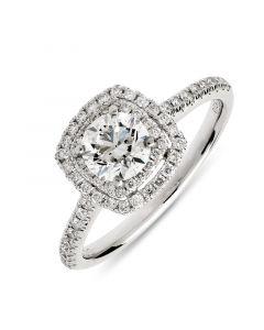 Platinum brilliant round cut double halo engagement ring. 0.70cts