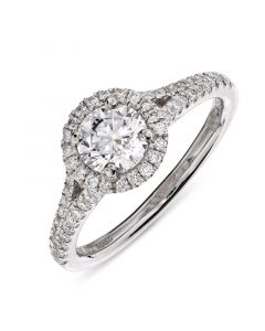 Platinum brilliant round cut diamond halo engagement ring. 0.70cts