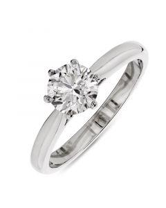 Platinum brilliant round cut diamond single stone engagement ring. 0.92cts