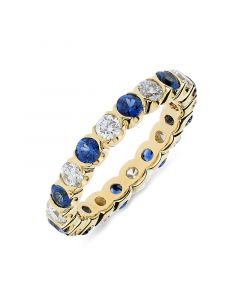 18ct yellow gold sapphire and diamond full hoop eternity ring