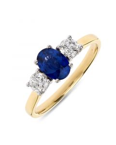18ct yellow gold oval cut sapphire and brilliant round diamond engagement ring. 0.98cts