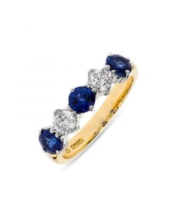 18ct yellow gold sapphire and diamond half hoop eternity ring