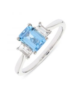 Platinum emerald cut aqua and diamond engagement ring.
