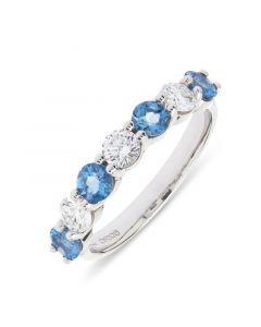 18ct white gold brilliant round cut aqua and diamond eternity ring.