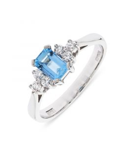 18ct white gold emerald cut aqua and 3 brilliant round cut diamond engagement ring.