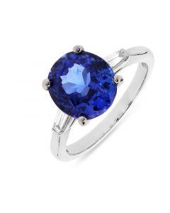 Platinum oval cut tanzanite and diamond engagement ring. 4.17cts