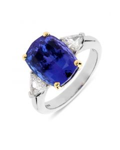 Platinum cushion cut tanzanite and diamond engagement ring. 6.60cts