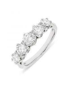 Platinum 5.7mm brilliant round cut 5 stone graduating eternity ring. 1.45cts