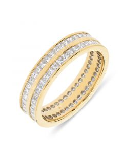 18ct yellow gold 2 row princess cut diamond eternity ring. 1.50cts