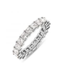 Platinum 3.5mm princess cut full hoop eternity ring. 3.30cts