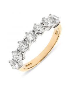 18ct yellow gold 4.8mm 7 stone brilliant round cut diamond eternity ring. 1.64cts