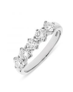 Platinum 5 stone brilliant round cut diamond eternity ring. 1.26cts