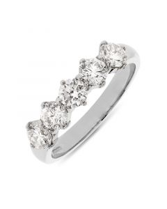 Platinum 3.5mm brilliant round cut 5 stone half eternity ring. 0.84cts