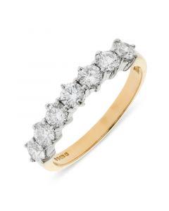 18ct yellow gold 4.15mm 7 stone brilliant round cut diamond eternity ring. 1.00cts