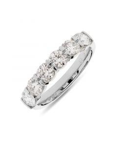 Platinum 4mm brilliant round cut 6 stone half hoop eternity ring. 1.31cts