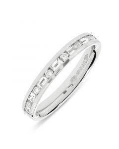 Platinum half hoop baguette & round cut diamond eternity ring. 0.40cts