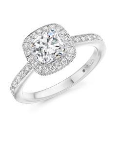 Platinum cushion cut halo engagement ring. 0.96cts
