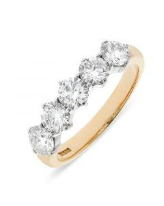 18ct yellow gold 5.2mm 5 stone brilliant round cut diamond eternity ring. 1.66cts