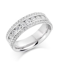 18ct white gold 6.2mm brilliant round cut contemporary half hoop diamond eternity ring. 1.35cts