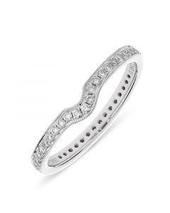 Platinum full hoop wishbone shape diamond eternity ring. 0.36cts