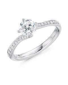 Platinum brilliant round cut single stone ring with diamond shoulders. 0.70cts