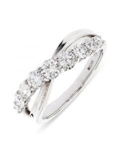 18ct white gold 9 stone brilliant round cut diamond crossover dress ring. 0.89cts