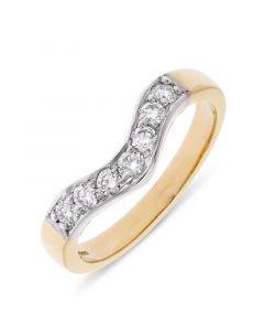 18ct yellow gold 7 stone wishbone eternity ring. 0.35cts