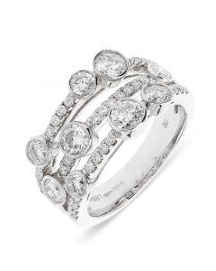 18ct white gold brilliant round cut diamond dress ring. 1.60cts