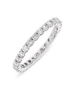 Platinum full hoop round cut diamond eternity ring. 0.94cts