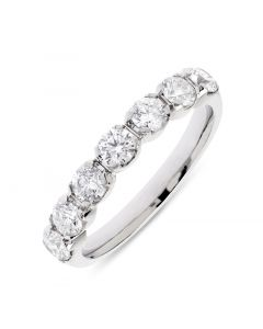 Platinum 7 stone half hoop eternity ring. 1.00cts