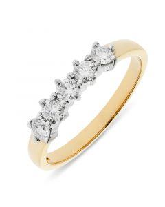 18ct yellow gold 4.10mm 5 stone brilliant round cut diamond eternity ring. 0.50cts