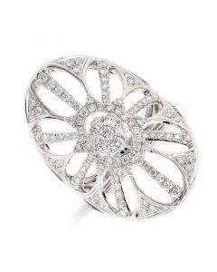 18ct white gold brilliant round cut diamond dress ring. 1.18cts
