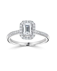 Platinum emerald cut diamond halo engagement ring with diamond shoulders 0.71cts