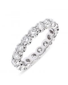 Platinum brilliant round cut full hoop eternity ring. 2.02cts