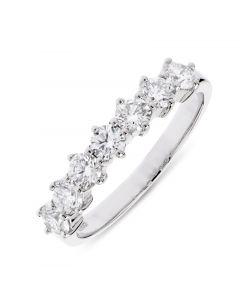 Platinum 7 stone half hoop eternity ring. 1.01cts