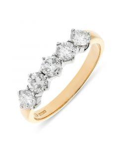 18ct yellow gold 4.65mm 5 stone brilliant round cut diamond eternity ring. 1.00cts