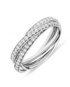 Platinum brilliant round cut diamond 3 band russian dress ring. 1.30cts