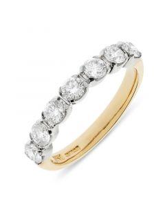18ct yellow gold 3.4mm 7 stone brilliant round cut diamond eternity ring. 1.02cts