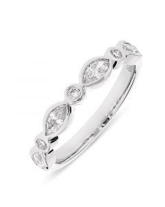 Platinum half hoop marquise & round cut diamond rub over eternity ring. 0.54cts