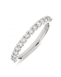 Platinum half hoop brilliant round cut diamond eternity ring. 0.52cts