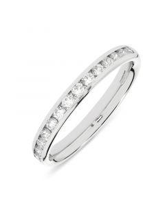 Platinum half hoop brilliant round cut diamond eternity ring. 0.44cts