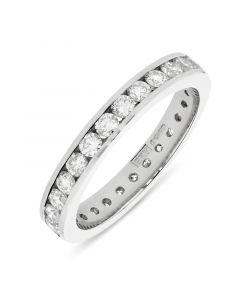 Platinum brilliant round cut diamond full hoop eternity ring. 1.11cts
